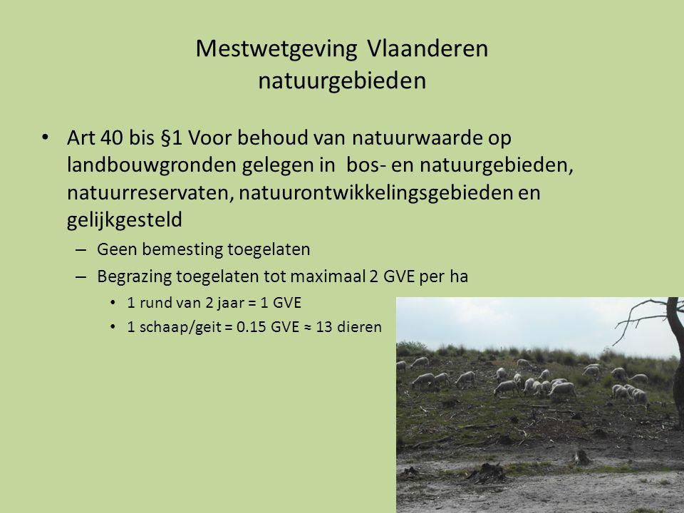 Mestwetgeving Vlaanderen natuurgebieden • Art 40 bis §1 Voor behoud van natuurwaarde op landbouwgronden gelegen in bos- en natuurgebieden, natuurreser