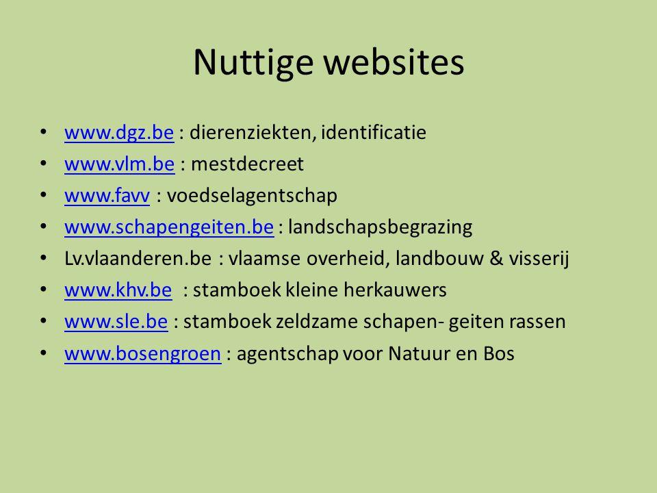 Nuttige websites • www.dgz.be : dierenziekten, identificatie www.dgz.be • www.vlm.be : mestdecreet www.vlm.be • www.favv : voedselagentschap www.favv