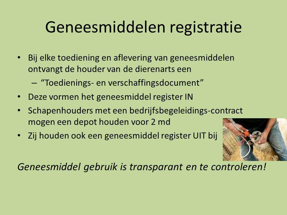"""Geneesmiddelen registratie • Bij elke toediening en aflevering van geneesmiddelen ontvangt de houder van de dierenarts een – """"Toedienings- en verschaf"""