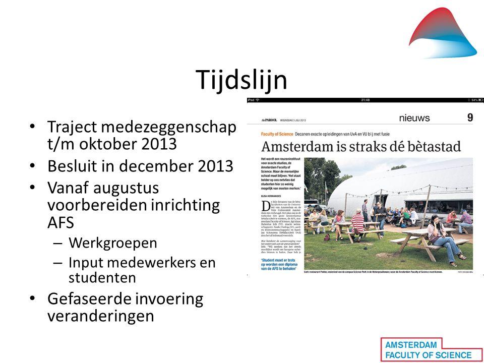 Tijdslijn • Traject medezeggenschap t/m oktober 2013 • Besluit in december 2013 • Vanaf augustus voorbereiden inrichting AFS – Werkgroepen – Input med
