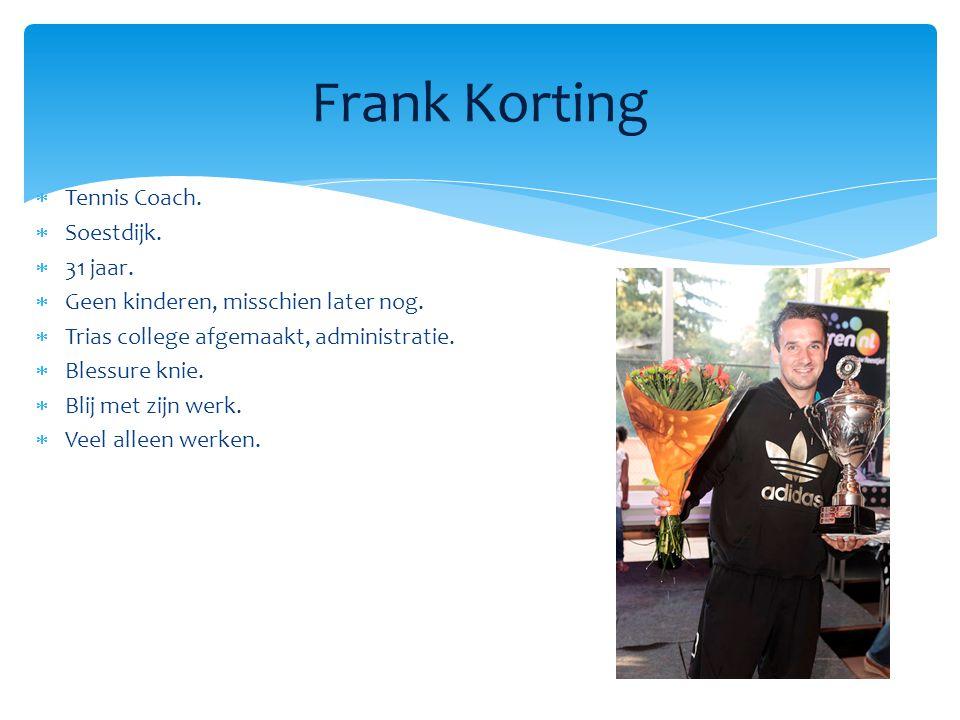  Tennis Coach. Soestdijk.  31 jaar.  Geen kinderen, misschien later nog.
