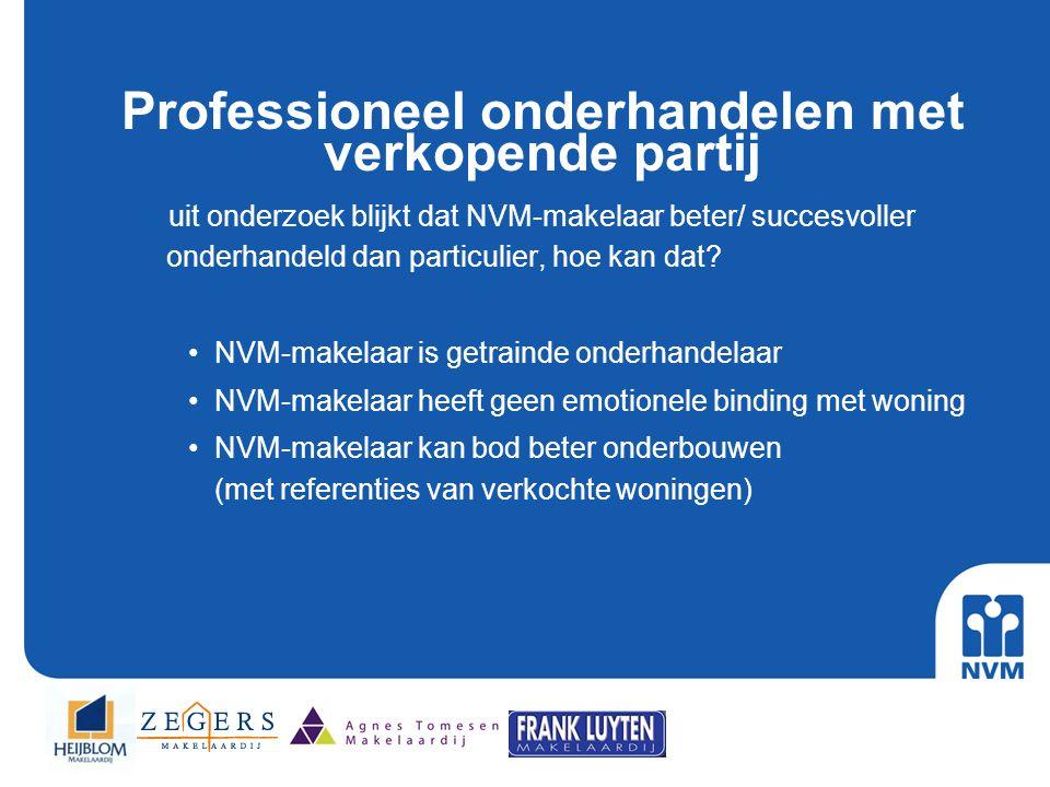 Professioneel onderhandelen met verkopende partij uit onderzoek blijkt dat NVM-makelaar beter/ succesvoller onderhandeld dan particulier, hoe kan dat?