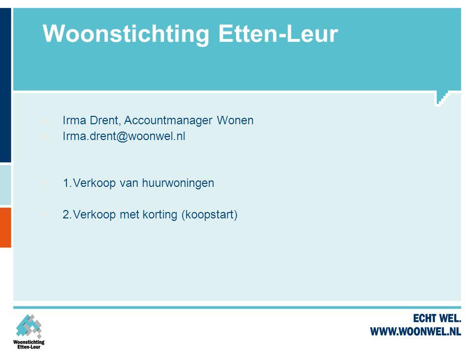 Woonstichting Etten-Leur  Irma Drent, Accountmanager Wonen  Irma.drent@woonwel.nl  1.Verkoop van huurwoningen  2.Verkoop met korting (koopstart)