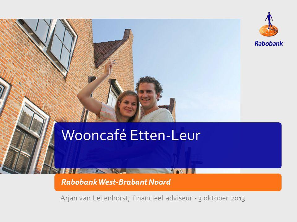 TiteldiaVoorbeeld lay-out Wooncafé Etten-Leur Rabobank West-Brabant Noord Arjan van Leijenhorst, financieel adviseur - 3 oktober 2013