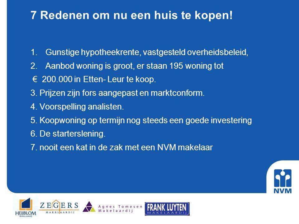 7 Redenen om nu een huis te kopen! 1.Gunstige hypotheekrente, vastgesteld overheidsbeleid, 2.Aanbod woning is groot, er staan 195 woning tot € 200.000