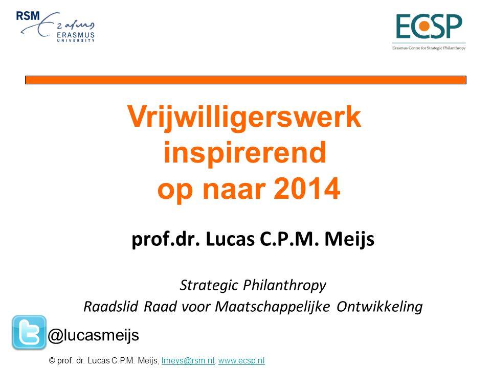 © prof. dr. Lucas C.P.M. Meijs, lmeys@rsm.nl. www.ecsp.nllmeys@rsm.nlwww.ecsp.nl prof.dr. Lucas C.P.M. Meijs Strategic Philanthropy Raadslid Raad voor