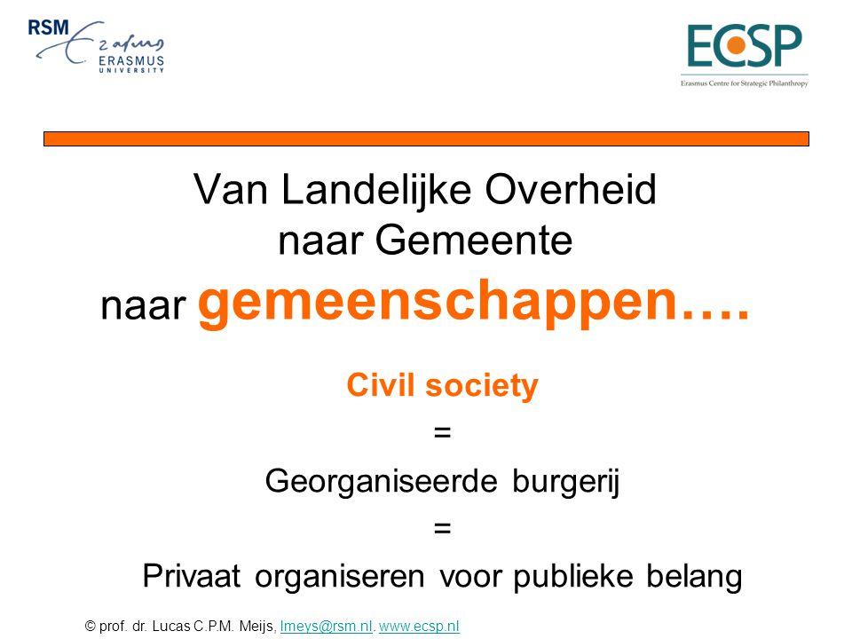 © prof. dr. Lucas C.P.M. Meijs, lmeys@rsm.nl. www.ecsp.nllmeys@rsm.nlwww.ecsp.nl Van Landelijke Overheid naar Gemeente naar gemeenschappen…. Civil soc