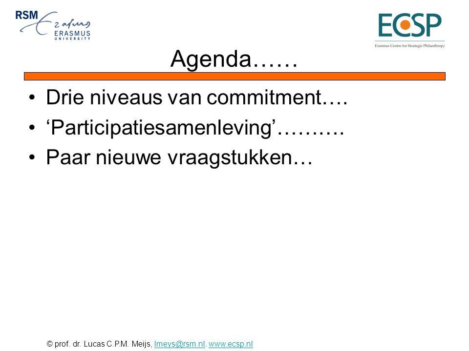 © prof. dr. Lucas C.P.M. Meijs, lmeys@rsm.nl. www.ecsp.nllmeys@rsm.nlwww.ecsp.nl Agenda…… •Drie niveaus van commitment…. •'Participatiesamenleving'………