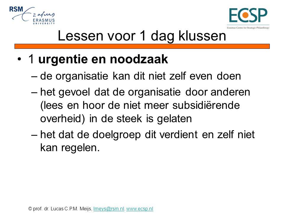 © prof. dr. Lucas C.P.M. Meijs, lmeys@rsm.nl. www.ecsp.nllmeys@rsm.nlwww.ecsp.nl Lessen voor 1 dag klussen •1 urgentie en noodzaak –de organisatie kan