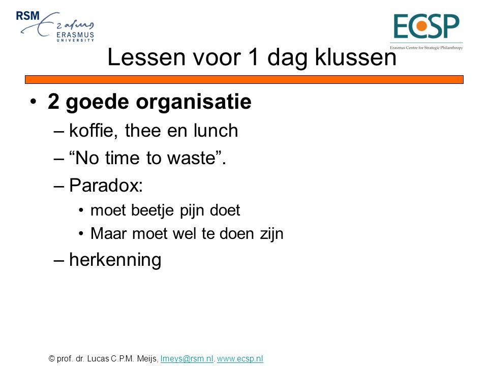 "© prof. dr. Lucas C.P.M. Meijs, lmeys@rsm.nl. www.ecsp.nllmeys@rsm.nlwww.ecsp.nl •2 goede organisatie –koffie, thee en lunch –""No time to waste"". –Par"