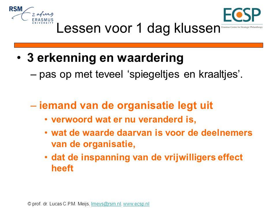 © prof. dr. Lucas C.P.M. Meijs, lmeys@rsm.nl. www.ecsp.nllmeys@rsm.nlwww.ecsp.nl •3 erkenning en waardering –pas op met teveel 'spiegeltjes en kraaltj