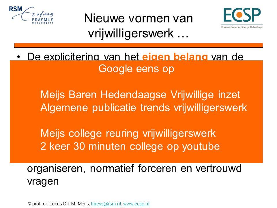 © prof. dr. Lucas C.P.M. Meijs, lmeys@rsm.nl. www.ecsp.nllmeys@rsm.nlwww.ecsp.nl Nieuwe vormen van vrijwilligerswerk … •De explicitering van het eigen