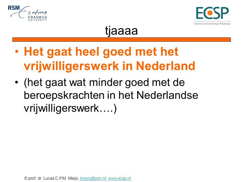 © prof. dr. Lucas C.P.M. Meijs, lmeys@rsm.nl. www.ecsp.nllmeys@rsm.nlwww.ecsp.nl tjaaaa •Het gaat heel goed met het vrijwilligerswerk in Nederland •(h