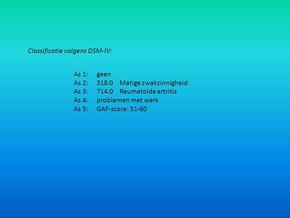 Classificatie volgens DSM-IV: As 1:geen As 2:318.0Matige zwakzinnigheid As 3:714.0Reumatoide artritis As 4:problemen met werk As 5:GAF-score: 51-60