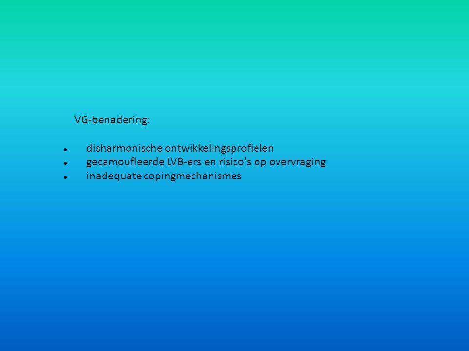 VG-benadering:  disharmonische ontwikkelingsprofielen  gecamoufleerde LVB-ers en risico's op overvraging  inadequate copingmechanismes