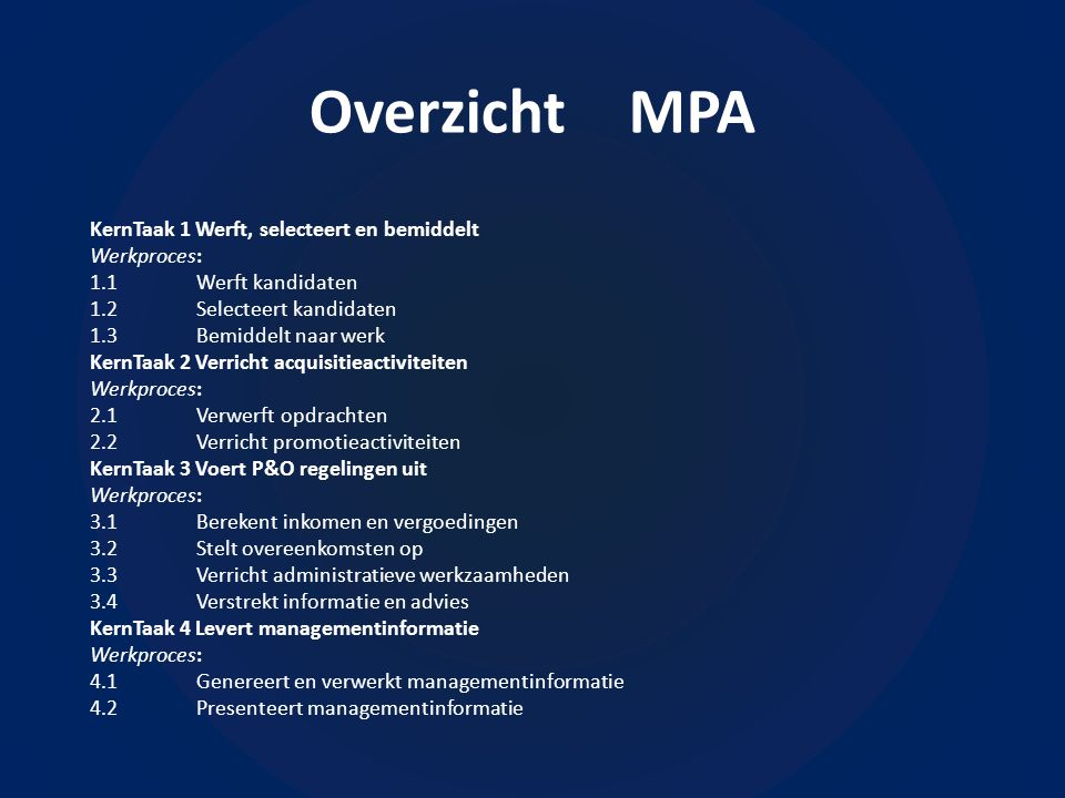 Overzicht MPA KernTaak 1 Werft, selecteert en bemiddelt Werkproces: 1.1Werft kandidaten 1.2Selecteert kandidaten 1.3Bemiddelt naar werk KernTaak 2 Verricht acquisitieactiviteiten Werkproces: 2.1Verwerft opdrachten 2.2Verricht promotieactiviteiten KernTaak 3 Voert P&O regelingen uit Werkproces: 3.1Berekent inkomen en vergoedingen 3.2Stelt overeenkomsten op 3.3Verricht administratieve werkzaamheden 3.4Verstrekt informatie en advies KernTaak 4 Levert managementinformatie Werkproces: 4.1Genereert en verwerkt managementinformatie 4.2Presenteert managementinformatie