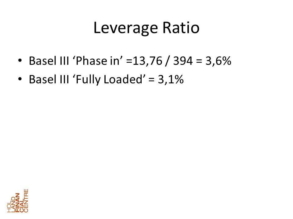 Leverage Ratio • Basel III 'Phase in' =13,76 / 394 = 3,6% • Basel III 'Fully Loaded' = 3,1%