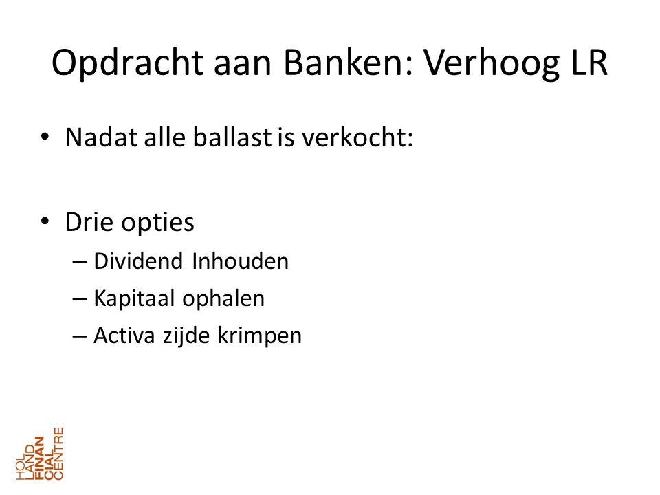 Opdracht aan Banken: Verhoog LR • Nadat alle ballast is verkocht: • Drie opties – Dividend Inhouden – Kapitaal ophalen – Activa zijde krimpen