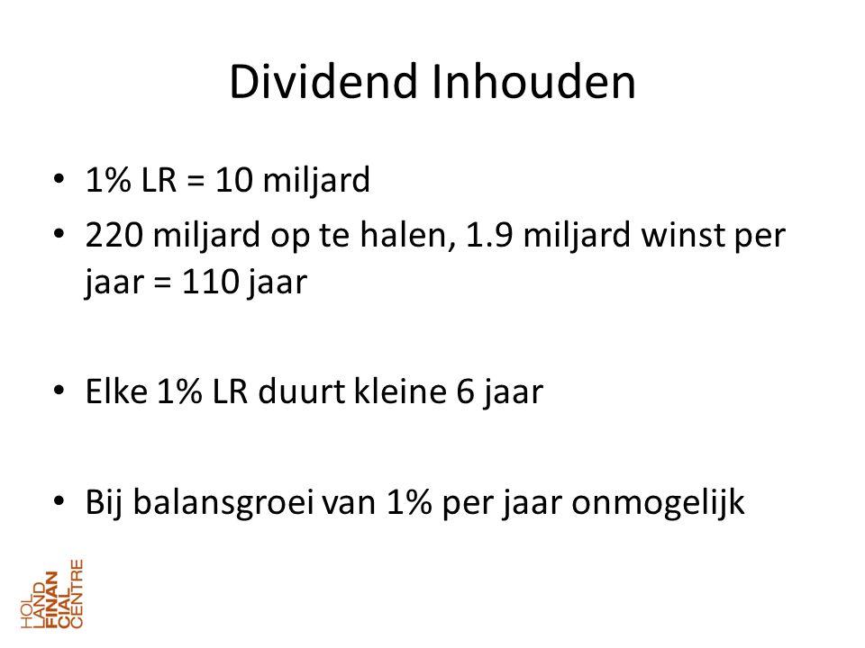 Dividend Inhouden • 1% LR = 10 miljard • 220 miljard op te halen, 1.9 miljard winst per jaar = 110 jaar • Elke 1% LR duurt kleine 6 jaar • Bij balansgroei van 1% per jaar onmogelijk