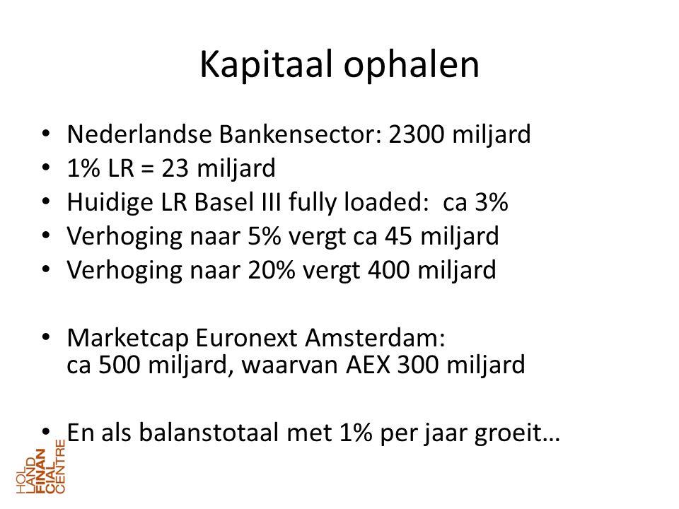 Kapitaal ophalen • Nederlandse Bankensector: 2300 miljard • 1% LR = 23 miljard • Huidige LR Basel III fully loaded: ca 3% • Verhoging naar 5% vergt ca 45 miljard • Verhoging naar 20% vergt 400 miljard • Marketcap Euronext Amsterdam: ca 500 miljard, waarvan AEX 300 miljard • En als balanstotaal met 1% per jaar groeit…