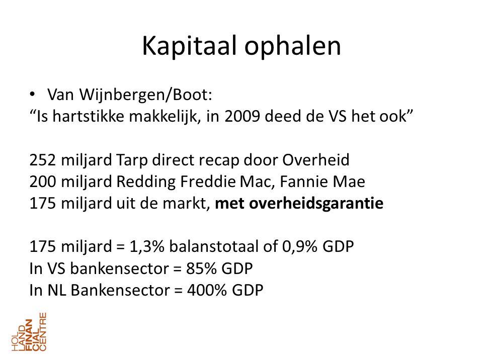 Kapitaal ophalen • Van Wijnbergen/Boot: Is hartstikke makkelijk, in 2009 deed de VS het ook 252 miljard Tarp direct recap door Overheid 200 miljard Redding Freddie Mac, Fannie Mae 175 miljard uit de markt, met overheidsgarantie 175 miljard = 1,3% balanstotaal of 0,9% GDP In VS bankensector = 85% GDP In NL Bankensector = 400% GDP