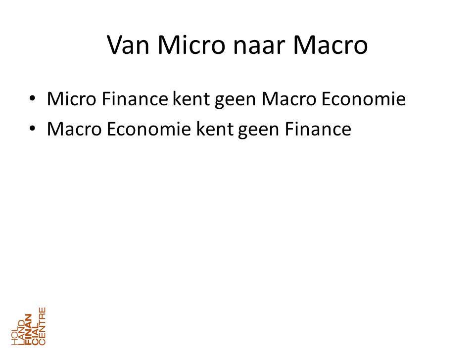Van Micro naar Macro • Micro Finance kent geen Macro Economie • Macro Economie kent geen Finance
