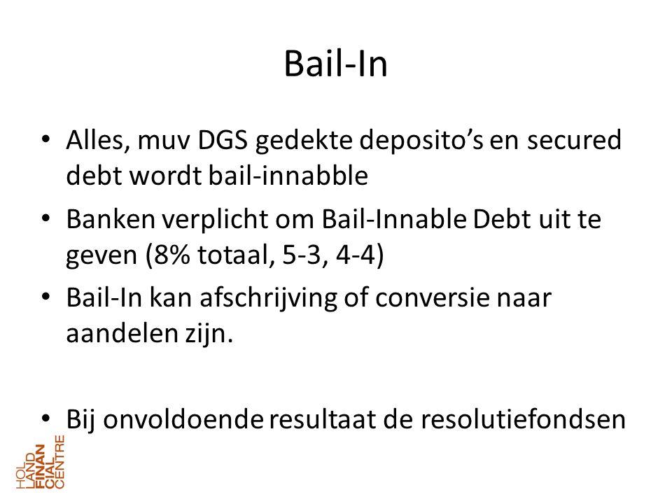 Bail-In • Alles, muv DGS gedekte deposito's en secured debt wordt bail-innabble • Banken verplicht om Bail-Innable Debt uit te geven (8% totaal, 5-3, 4-4) • Bail-In kan afschrijving of conversie naar aandelen zijn.