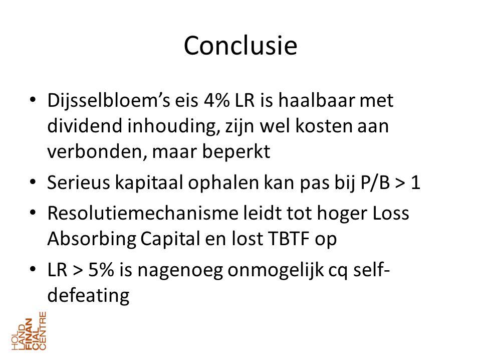Conclusie • Dijsselbloem's eis 4% LR is haalbaar met dividend inhouding, zijn wel kosten aan verbonden, maar beperkt • Serieus kapitaal ophalen kan pas bij P/B > 1 • Resolutiemechanisme leidt tot hoger Loss Absorbing Capital en lost TBTF op • LR > 5% is nagenoeg onmogelijk cq self- defeating