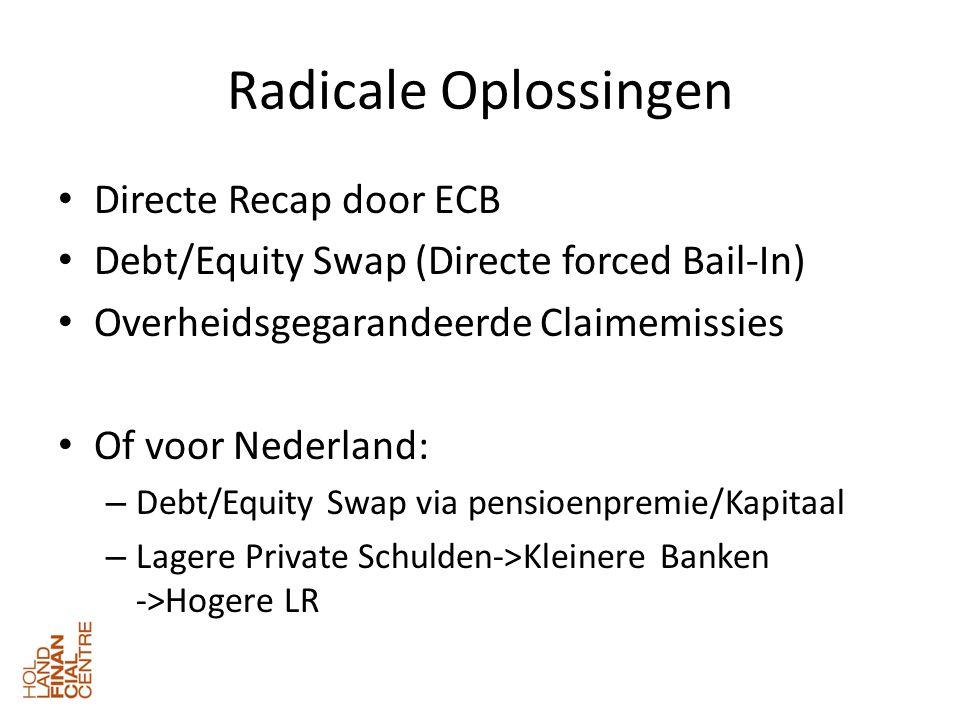 Radicale Oplossingen • Directe Recap door ECB • Debt/Equity Swap (Directe forced Bail-In) • Overheidsgegarandeerde Claimemissies • Of voor Nederland: – Debt/Equity Swap via pensioenpremie/Kapitaal – Lagere Private Schulden->Kleinere Banken ->Hogere LR