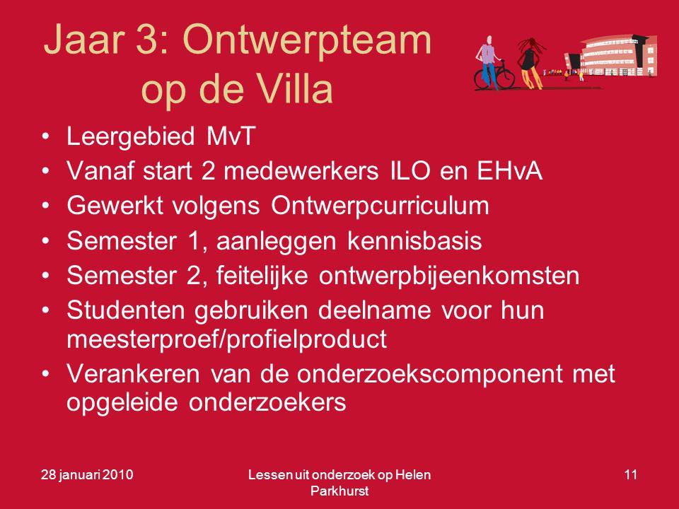 Jaar 3: Ontwerpteam op de Villa •Leergebied MvT •Vanaf start 2 medewerkers ILO en EHvA •Gewerkt volgens Ontwerpcurriculum •Semester 1, aanleggen kenni
