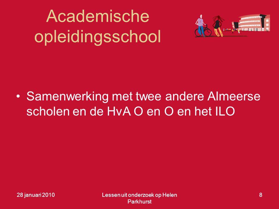 Academische opleidingsschool •Samenwerking met twee andere Almeerse scholen en de HvA O en O en het ILO 28 januari 2010Lessen uit onderzoek op Helen P