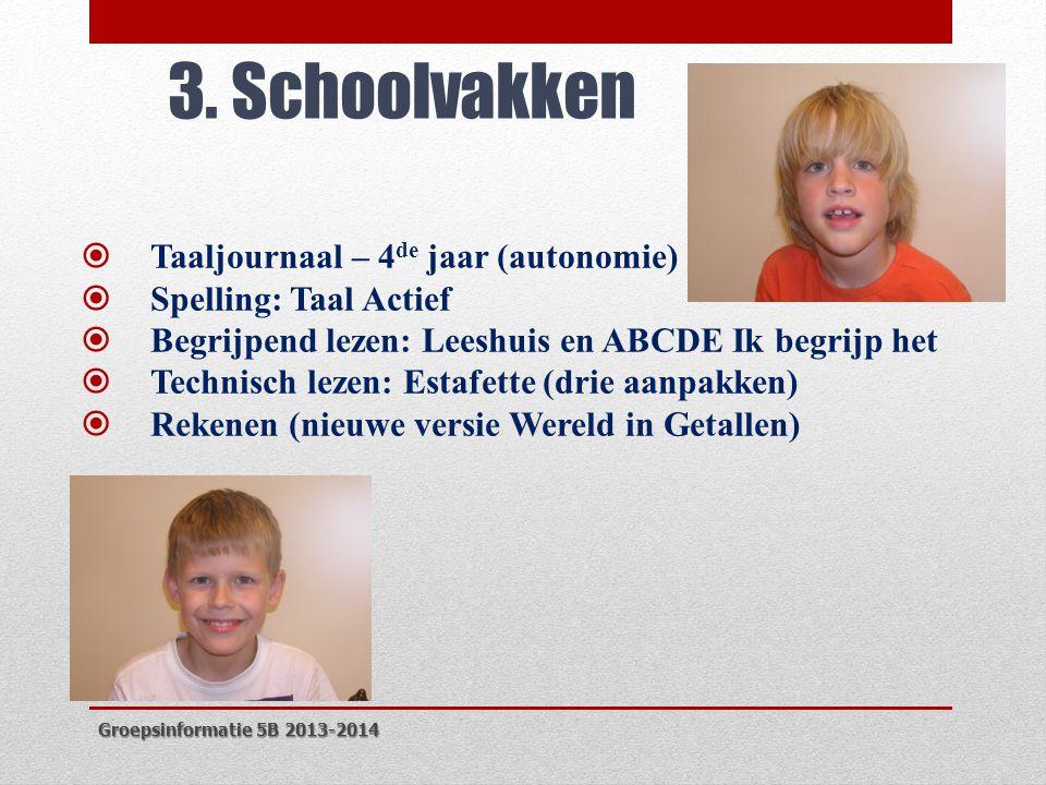 3. Schoolvakken  Taaljournaal – 4 de jaar (autonomie)  Spelling: Taal Actief  Begrijpend lezen: Leeshuis en ABCDE Ik begrijp het  Technisch lezen: