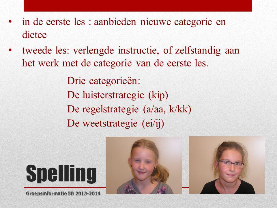 Spelling • in de eerste les : aanbieden nieuwe categorie en dictee • tweede les: verlengde instructie, of zelfstandig aan het werk met de categorie van de eerste les.