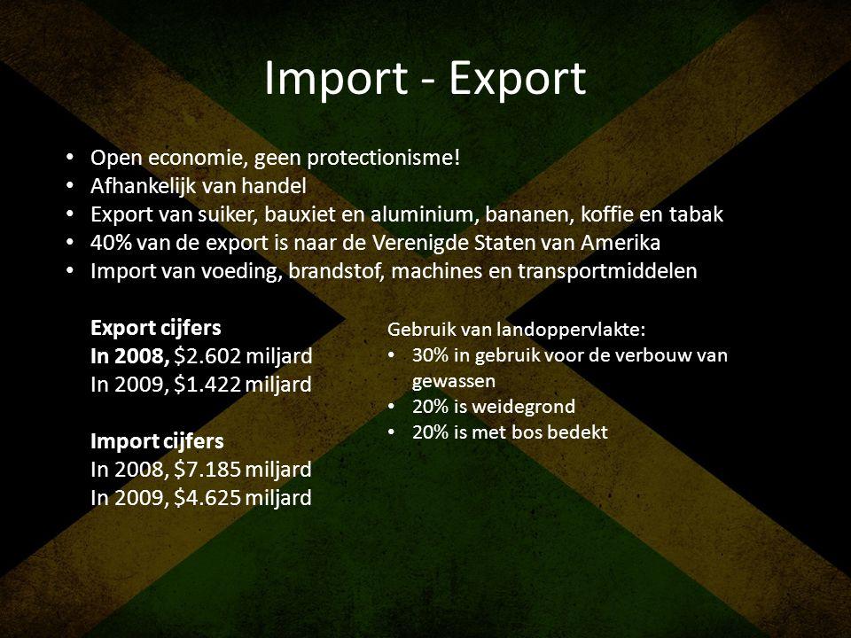 Import - Export • Open economie, geen protectionisme! • Afhankelijk van handel • Export van suiker, bauxiet en aluminium, bananen, koffie en tabak • 4