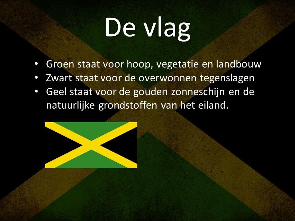De vlag • Groen staat voor hoop, vegetatie en landbouw • Zwart staat voor de overwonnen tegenslagen • Geel staat voor de gouden zonneschijn en de natu