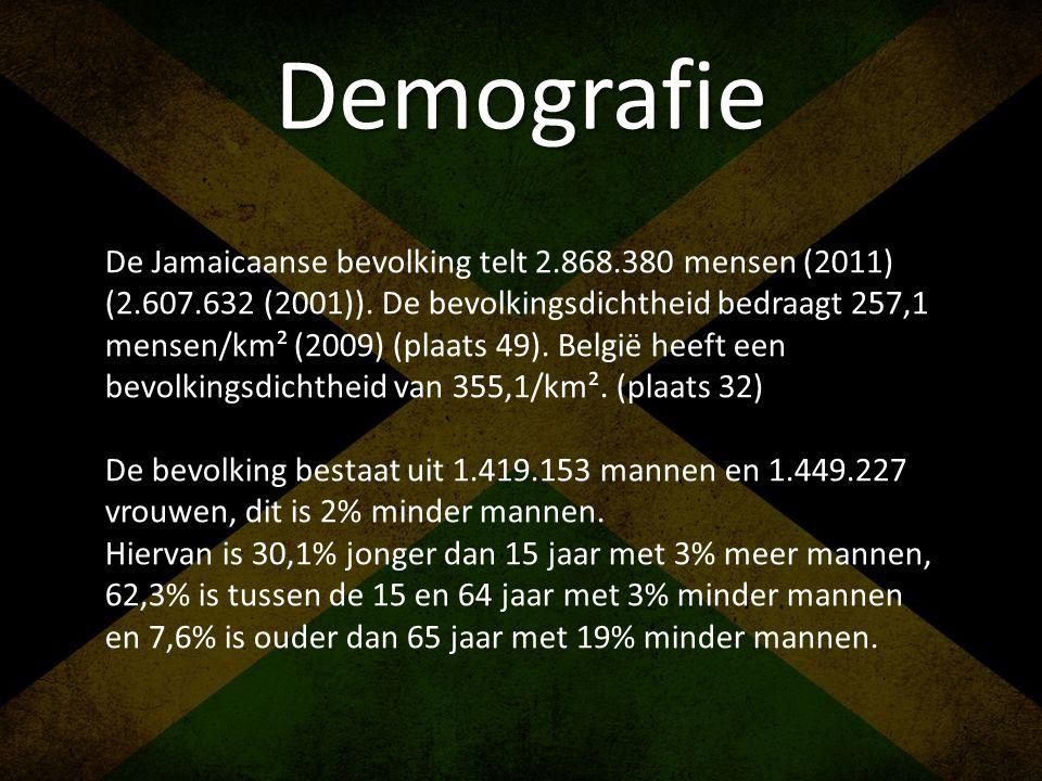 Demografie De Jamaicaanse bevolking telt 2.868.380 mensen (2011) (2.607.632 (2001)). De bevolkingsdichtheid bedraagt 257,1 mensen/km² (2009) (plaats 4