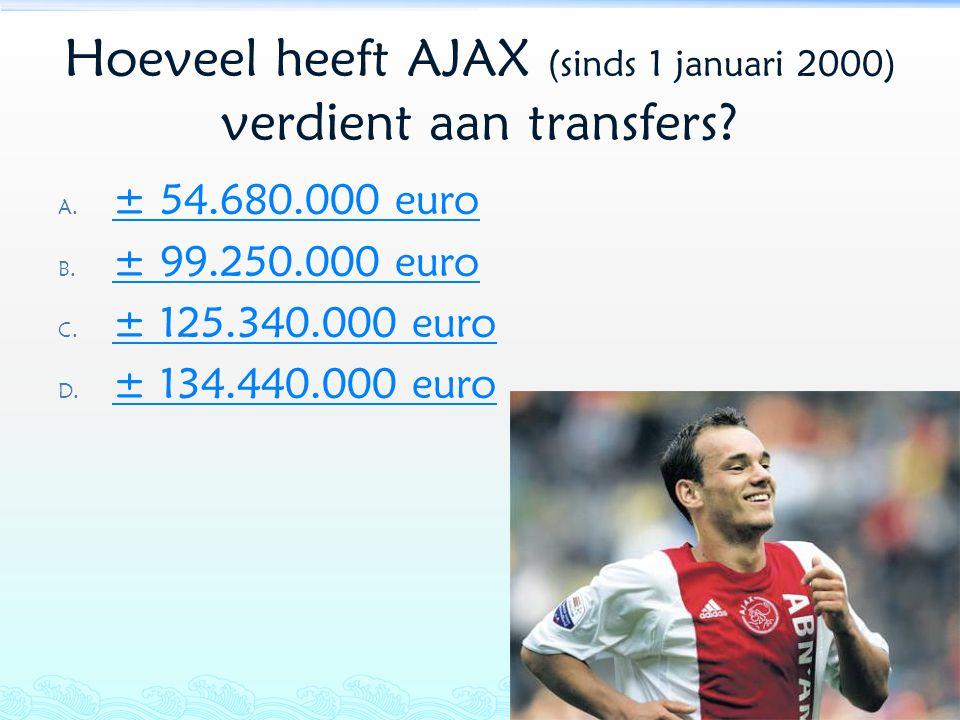 Hoeveel heeft AJAX (sinds 1 januari 2000) verdient aan transfers? A. ± 54.680.000 euro ± 54.680.000 euro B. ± 99.250.000 euro ± 99.250.000 euro C. ± 1