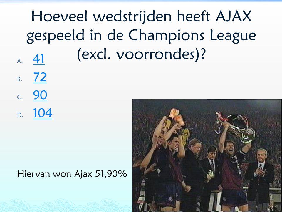 Hoeveel wedstrijden heeft AJAX gespeeld in de Champions League (excl. voorrondes)? A. 41 41 B. 72 72 C. 90 90 D. 104 104 Hiervan won Ajax 51,90%