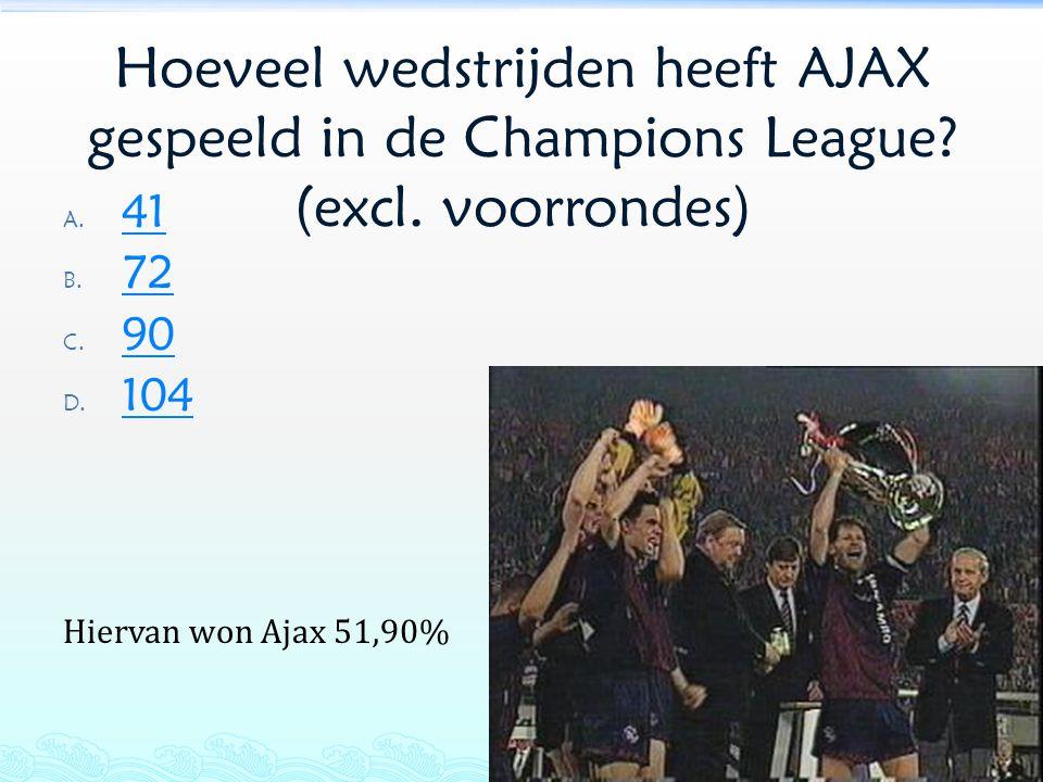 Hoeveel wedstrijden heeft AJAX gespeeld in de Champions League? (excl. voorrondes) A. 41 41 B. 72 72 C. 90 90 D. 104 104 Hiervan won Ajax 51,90%