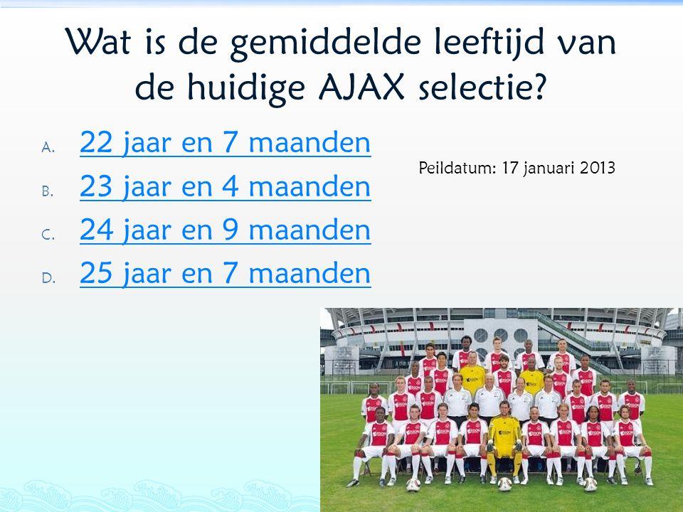 Wat is de gemiddelde leeftijd van de huidige AJAX selectie? A. 22 jaar en 7 maanden 22 jaar en 7 maanden B. 23 jaar en 4 maanden 23 jaar en 4 maanden