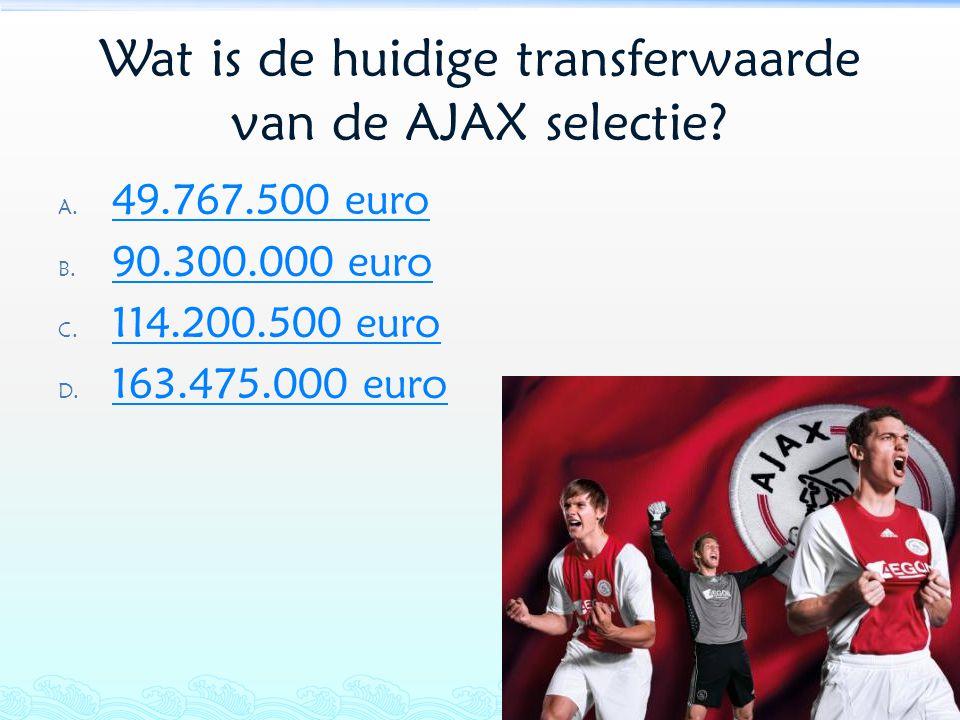 Wat is de huidige transferwaarde van de AJAX selectie? A. 49.767.500 euro 49.767.500 euro B. 90.300.000 euro 90.300.000 euro C. 114.200.500 euro 114.2
