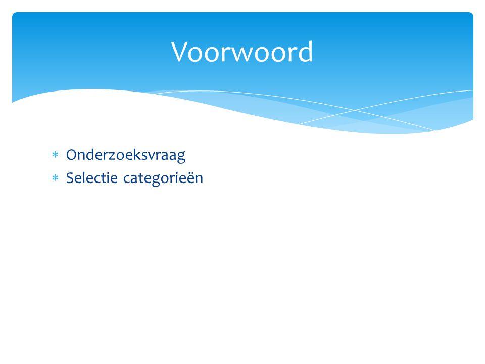  Onderzoeksvraag  Selectie categorieën Voorwoord