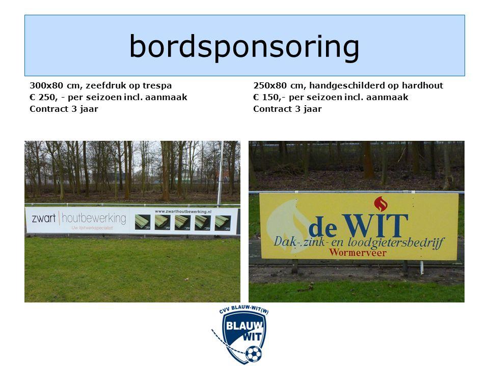 bordsponsoring 300x80 cm, zeefdruk op trespa € 250, - per seizoen incl.