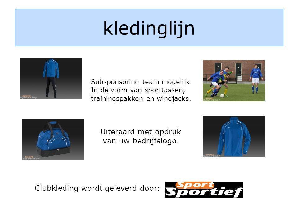 kledinglijn Subsponsoring team mogelijk. In de vorm van sporttassen, trainingspakken en windjacks.