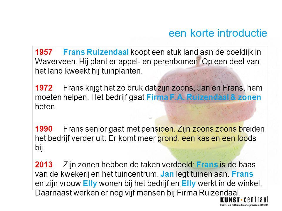 een korte introductie 1957Frans Ruizendaal koopt een stuk land aan de poeldijk in Waverveen.