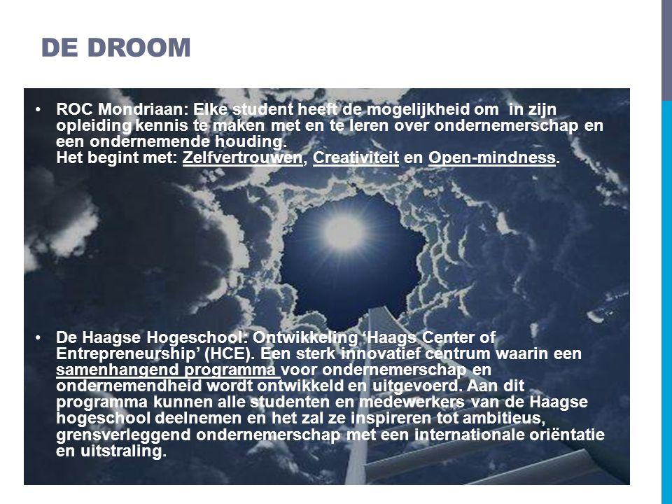 •ROC Mondriaan: Elke student heeft de mogelijkheid om in zijn opleiding kennis te maken met en te leren over ondernemerschap en een ondernemende houdi