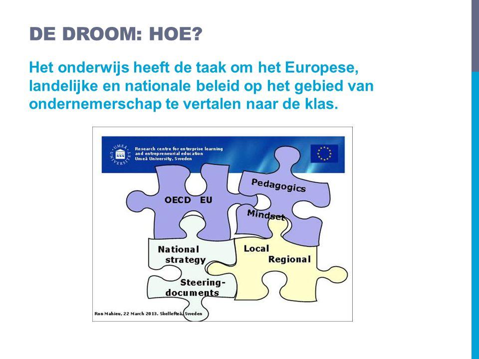 Het onderwijs heeft de taak om het Europese, landelijke en nationale beleid op het gebied van ondernemerschap te vertalen naar de klas. DE DROOM: HOE?