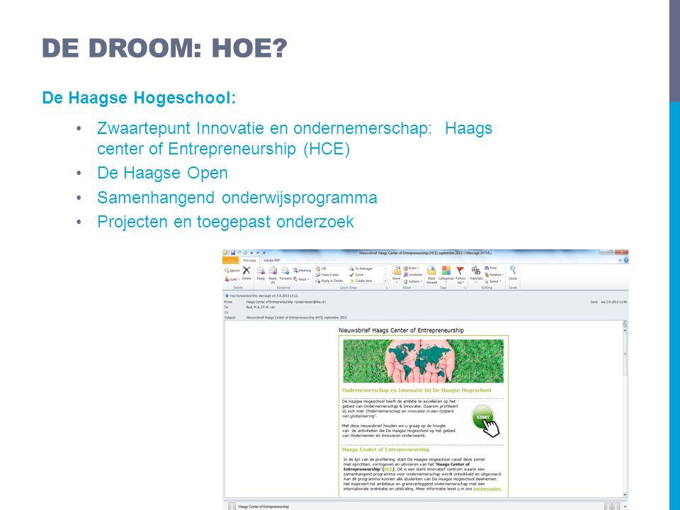 De Haagse Hogeschool: •Zwaartepunt Innovatie en ondernemerschap: Haags center of Entrepreneurship (HCE) •De Haagse Open •Samenhangend onderwijsprogram