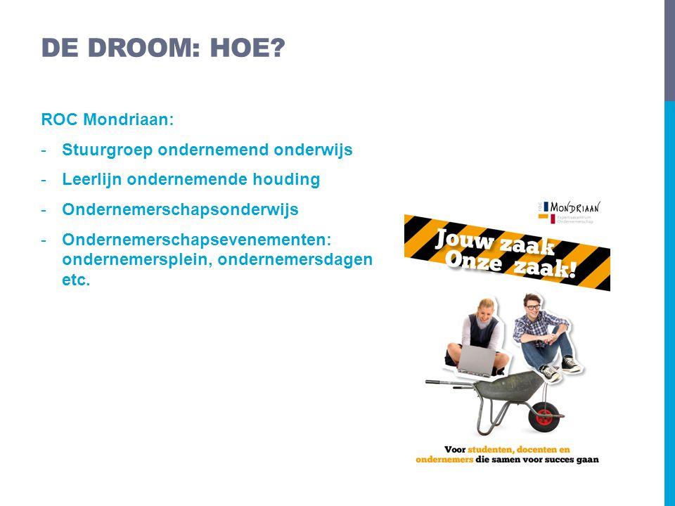 ROC Mondriaan: -Stuurgroep ondernemend onderwijs -Leerlijn ondernemende houding -Ondernemerschapsonderwijs -Ondernemerschapsevenementen: ondernemerspl