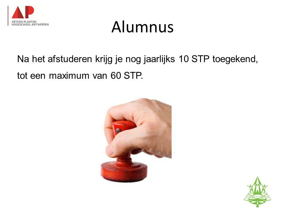Alumnus Na het afstuderen krijg je nog jaarlijks 10 STP toegekend, tot een maximum van 60 STP. 100